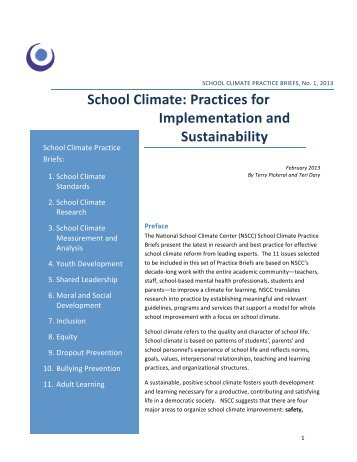 School Climate: Practices for Implementation and Sustainability