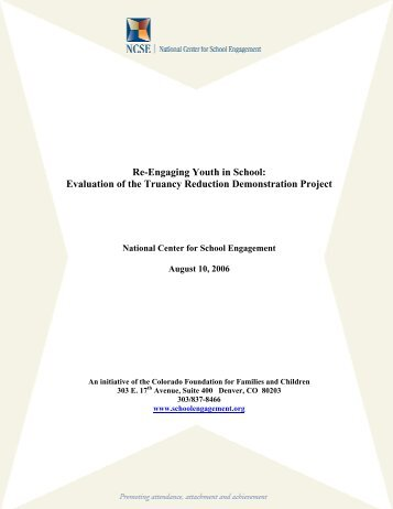 Re-Engaging Youth in School: Evaluation of the Truancy Reduction ...