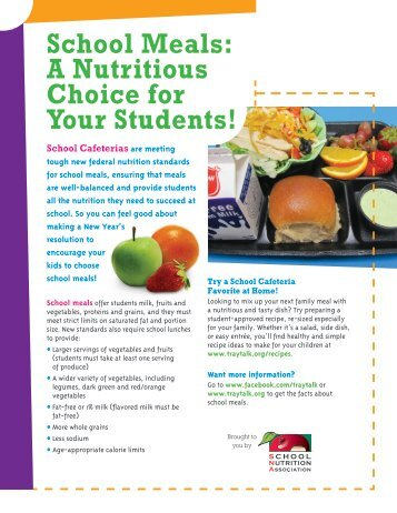 School Meals: A Nutritious Choice for Your Students! - Tray Talk