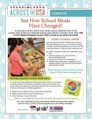 Parent/Student Backpack Brochure - School Nutrition Association