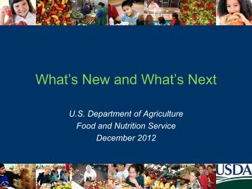 What's New and What's Next - School Nutrition Association
