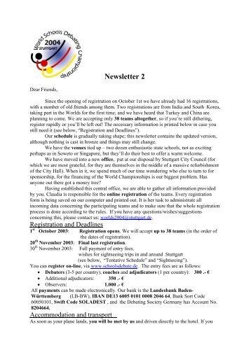 Newsletter 2 - World Schools Debating Championships