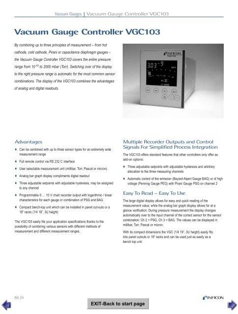 Vacuum Gauge Controller VGC103 - Schoonover, Inc