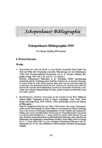 Schopenhauer-UiißCioßTapfiie