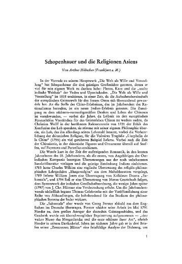 Schopenhauer und die Religionen Asiens