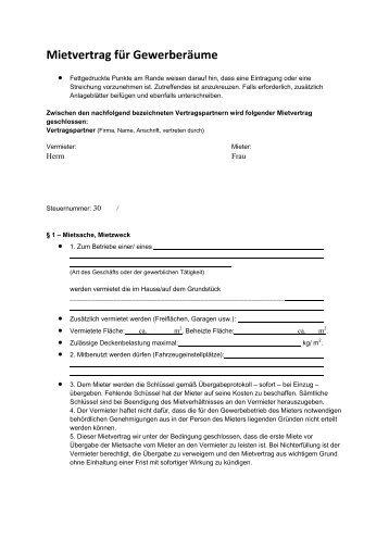 Mietvertrag für Gewerberäume