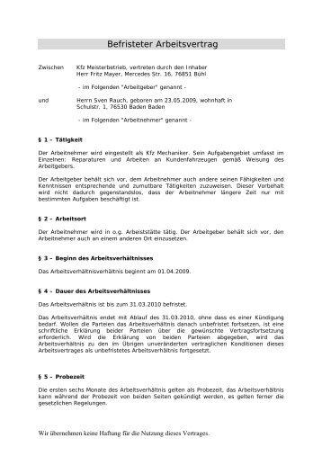 Arbeitsvertrag Für Fahrpersonal