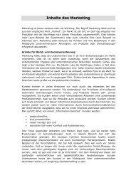 Inhalte des Marketing - Schorle Unternehmensberatung
