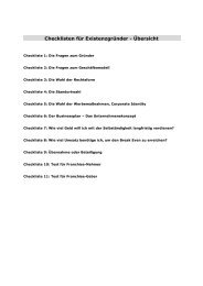 Checklisten für Existenzgründer - Übersicht