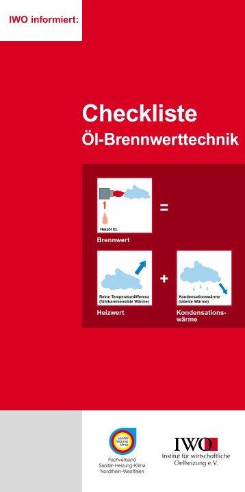 Checkliste Öl-Brennwerttechnik