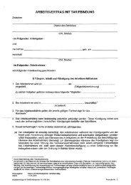 Arbeitsvertrag mit Tarif