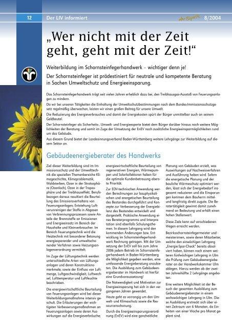 Wer nicht mit der Zeit geht, geht mit der Zeit! - LIV Baden- Württemberg