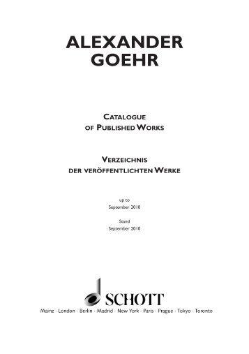 ALEXANDER GOEHR - Schott Music