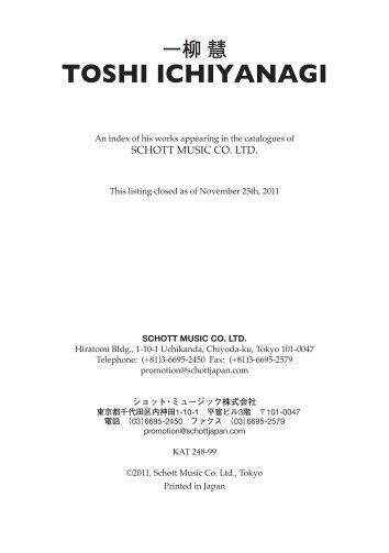 TOSHI ICHIYANAGI - Schott Music