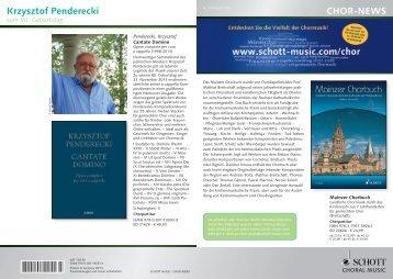 CHOR-NEWS Krzysztof Penderecki - Schott Music