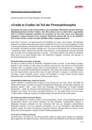 «Cradle to Cradle» ist Teil der Firmenphilosophie