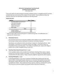 University Undergraduate Teaching Award Candidate Packet ...