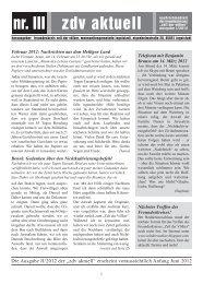 zdv aktuell nr. III - Die Schriftleitung