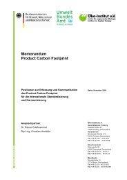 Memorandum Product Carbon Footprint