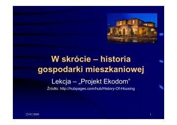 PPt Historia gospodarki mieszkaniowej.pdf - The INSPIRE project