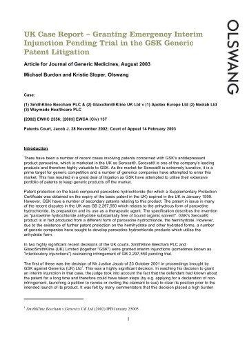 UK Case Report – Granting Emergency Interim Injunction ... - Olswang