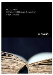 No. 3, 2010 Commercial Dispute Resolution Legal Update - Olswang