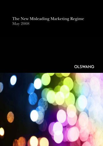 Consumer Protection from Unfair Trading Regulations 2008 - Olswang