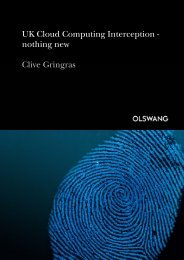 UK Cloud Computing Interception - nothing new Clive ... - Olswang