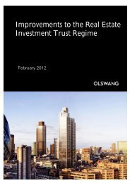 Improvements to the Real Estate Investment Trust Regime - Olswang