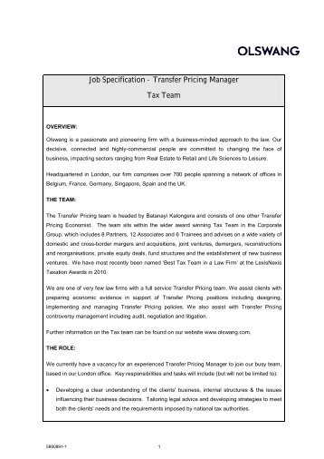 job specification transfer pricing manager tax team olswang