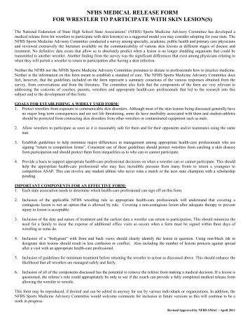 Nfhs Physician Release For Wrestler  Ahsaa