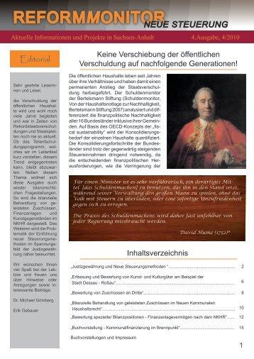 Reformmonitor Ausgabe 4 (2010) - PubliCConsult - Hochschule Harz