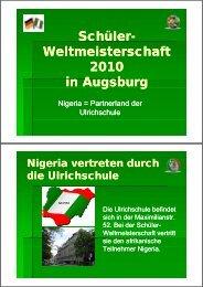 Schüler- Schüler Weltmeisterschaft 2010 in Augsburg