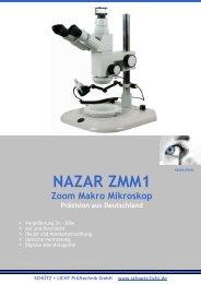 NAZAR ZMM1 Zoom Makro Mikroskop als PDF öffnen