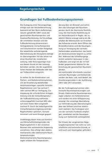 Grundlagen bei Fußbodenheizungssystemen Regelungstechnik I.7