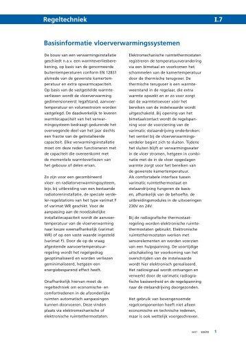 Basisinformatie vloerverwarmingssystemen Regeltechniek I.7