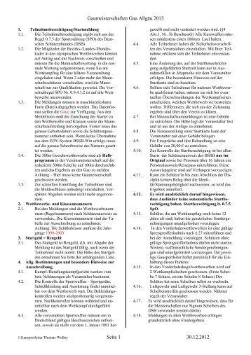 Ausschreibung Gaumeisterschaft 2013 - Gau Allgäu