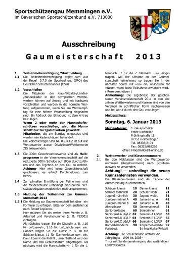 Ausschreibung zur Gaumeisterschaft 2013 - Gau Memmingen