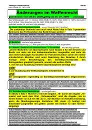 Änderungen im Waffenrecht 25.07.2009