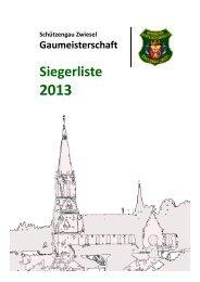 Ergebnisse Gaumeisterschaft 2013 - Schützengau Zwiesel