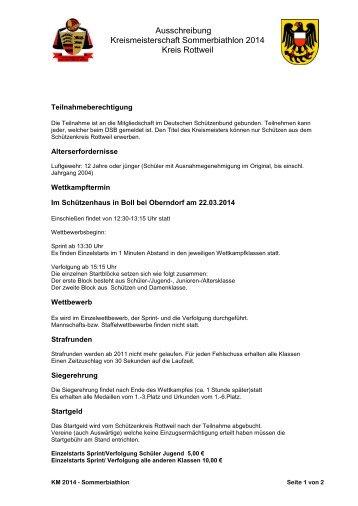 Ausschreibung Kreismeisterschaft Sommerbiathlon 2014 Kreis ...