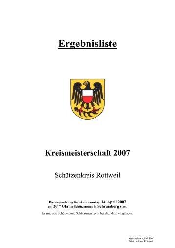 Ergebnisliste Kreismeisterschaft 2007 - Schützenkreis Rottweil