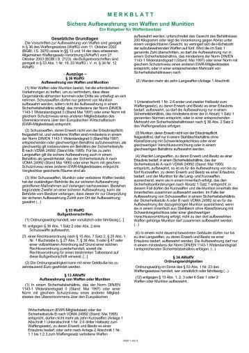 Waffenaufbewahrung magazine for Schrank widerstandsgrad 0