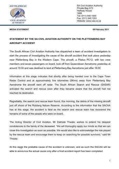 Sea -Crash - South African Civil Aviation Authority