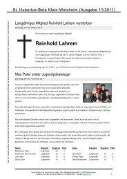 Ausgabe 11/2011 - Schützenverein St. Hubertus eV Klein-Welzheim
