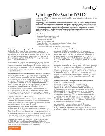 Synology DiskStation DS112 - Rue du Commerce