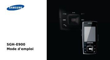 SGH-E900 Mode d'emploi - Rue du Commerce