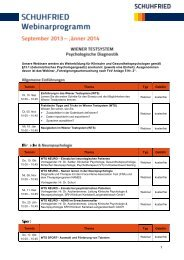 SCHUHFRIED Webinarprogramm (PDF) - SCHUHFRIED GmbH