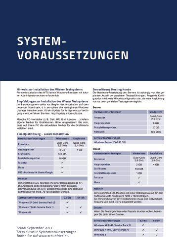 Systemvoraussetzungen WTS (PDF) - SCHUHFRIED GmbH