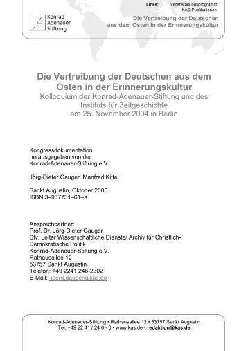 Die Vertreibung der Deutschen aus dem Osten - Konrad-Adenauer ...